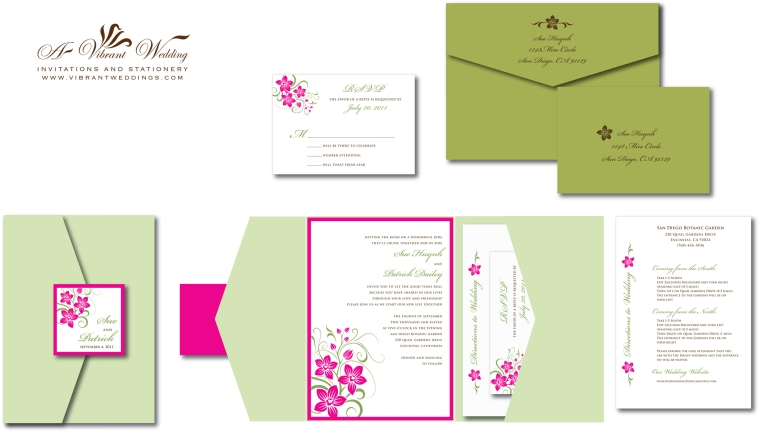 Pink & Green Orchid Wedding Invitation