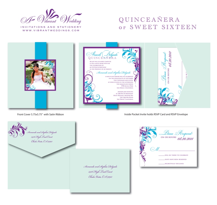Quinceanera Invitations or Sweet Sixteen - Custom to match your style/colors