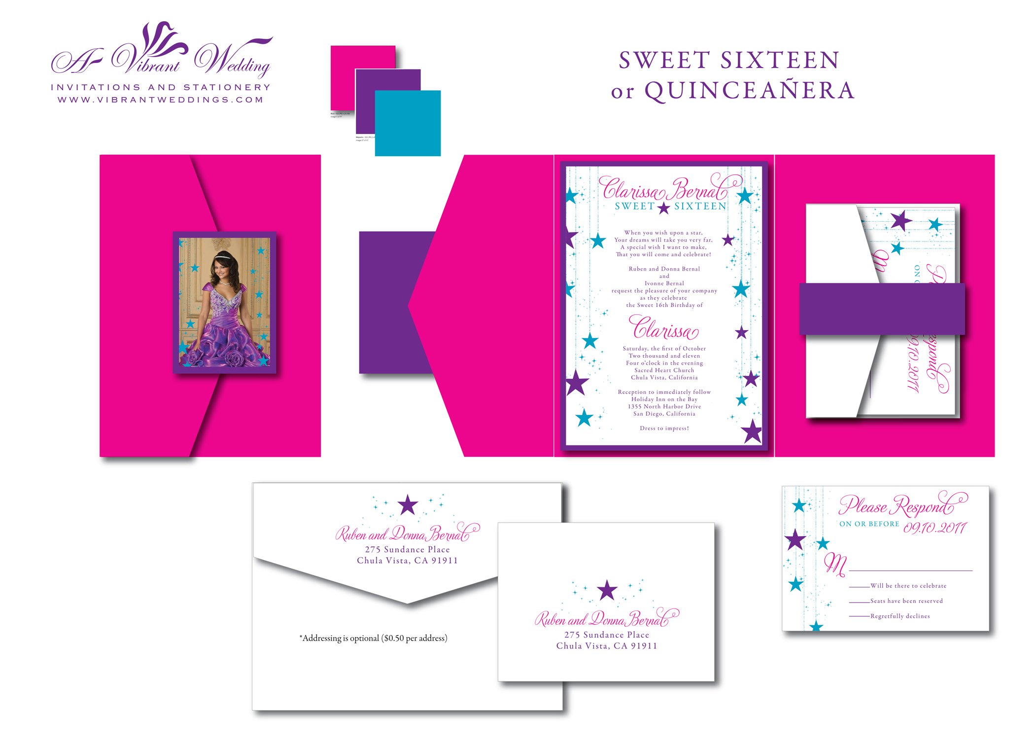 Sweet Sixteen or Quinceanera Star Theme Invitation  5x7 quot  Z-Card Style Quinceanera Star Theme Invitations