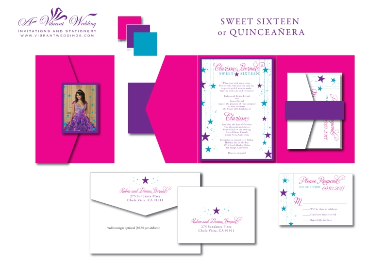 Sweet Sixteen or Quinceanera Star Theme Invitation