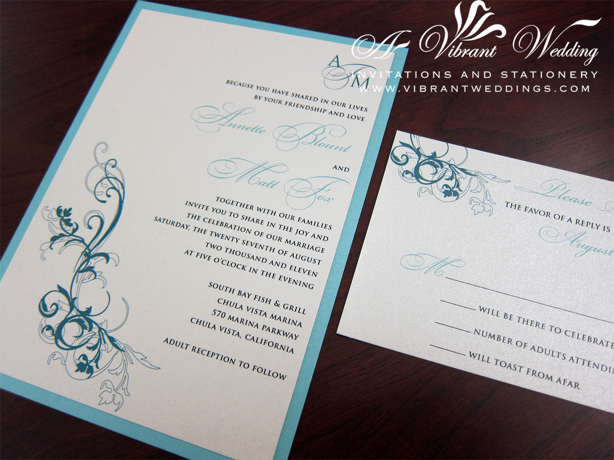 Tiffany Blue And Ivory Wedding Invitation With Monogram Floral Scroll A Vibrant Wedding Invitations
