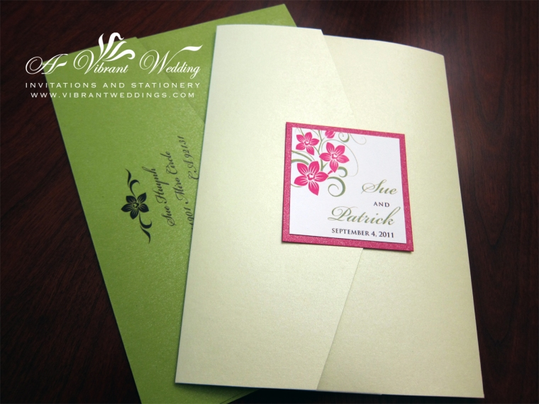 Fuchsia and Green Wedding Invitation
