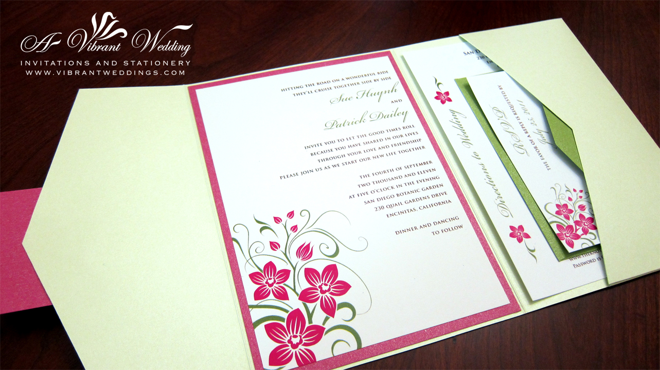 fuchsia and green wedding invitation – A Vibrant Wedding