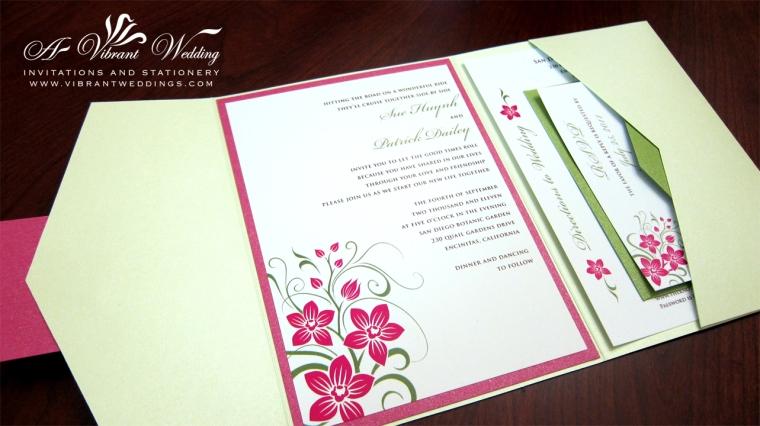 Fuchsia and Green Wedding Invitation