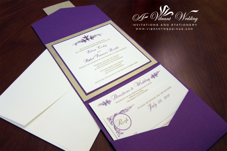 Purple and Gold Wedding Invitation - Vintage Floral Scroll Design