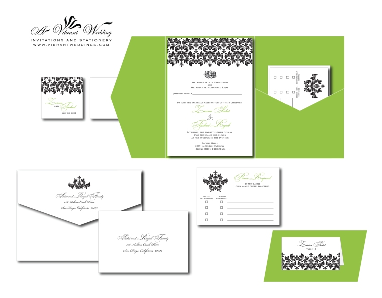 Green with Black Damask Wedding Invitation