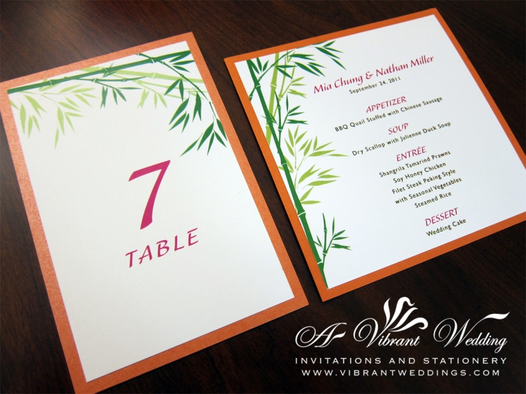 Orange and Green Bamboo table numbers and menu cards
