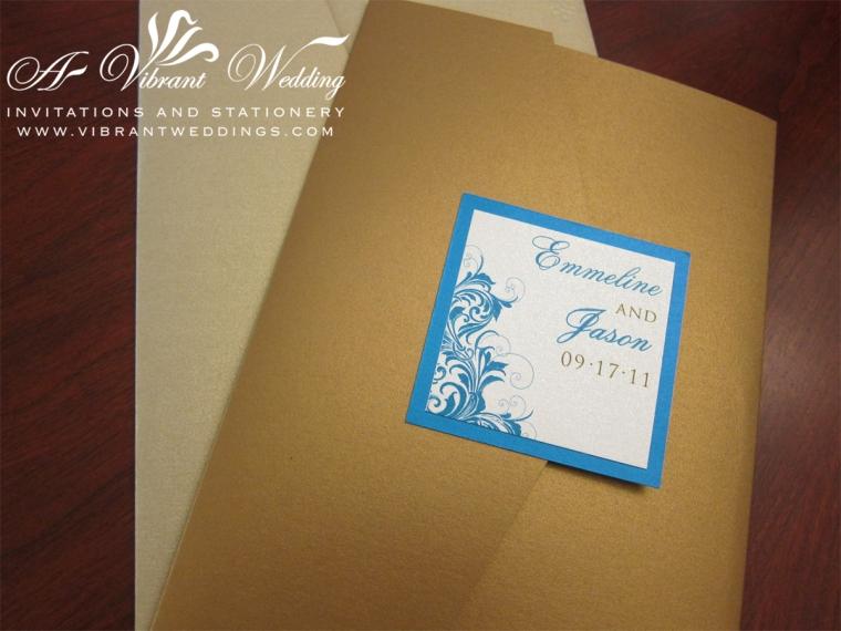 Island blue, Sand, and Gold Vintage Wave Pocket Fold Invitation