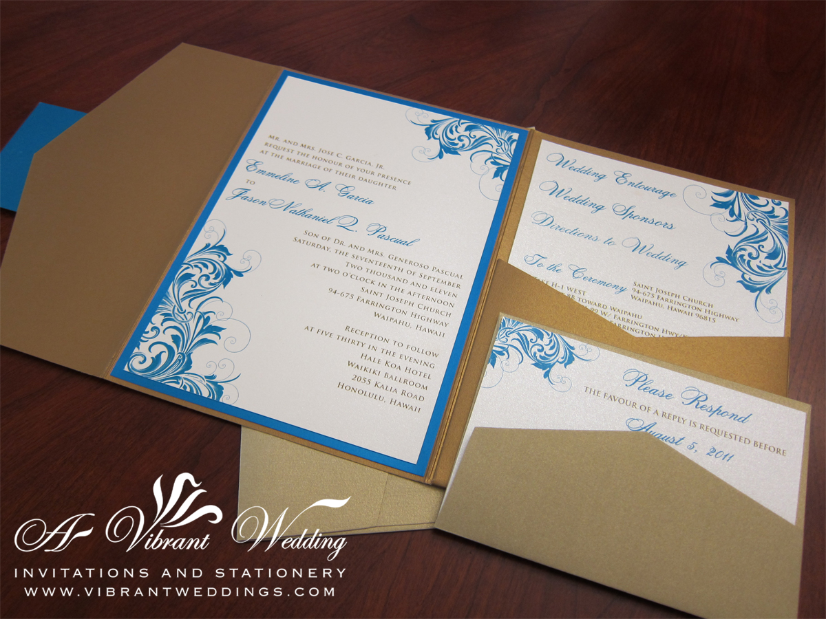 ... Island Blue, Sand, And Gold Vintage Wave Pocket Fold Invitation ...