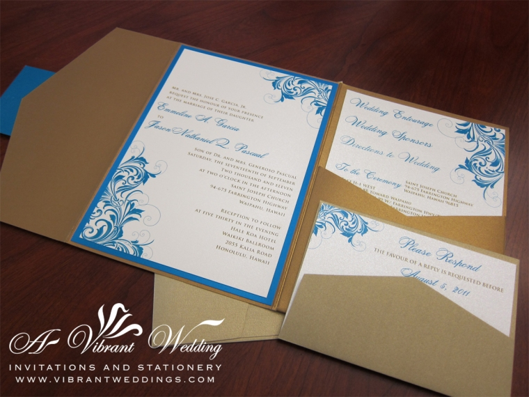 Island blue, Sand, and Gold Vintage Wave Pocket Fold Invitation