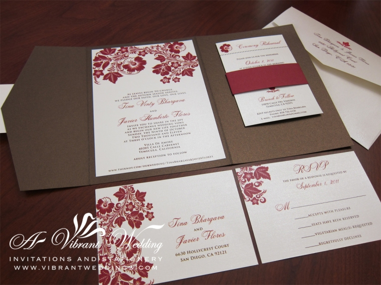 Brown and red fall pocket fold invitation with floral accents