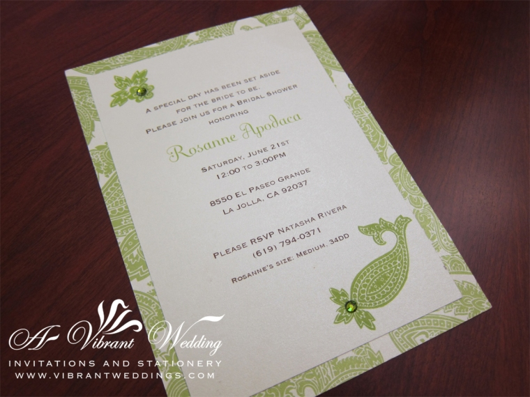Green and White Wedding Invitation with Paisley Design