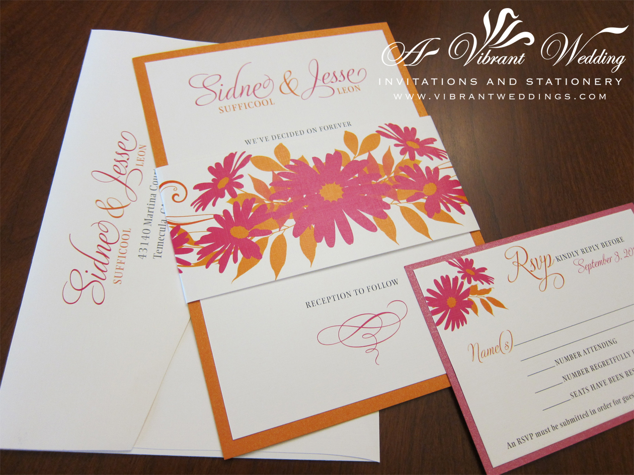 orange and pink wedding invitation – A Vibrant Wedding