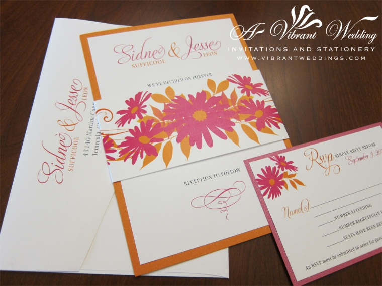 Pink and Orange Wedding Invitation with Daisy Flower Design