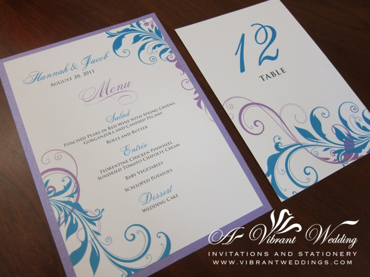 Light Purple and Blue Whimsical Menu Cards and Table Numbers