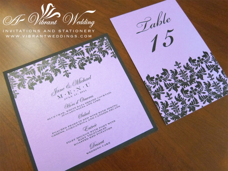 Purple and Black Victorian Menu Cards and Table Numbers