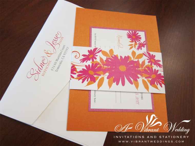 Pink and Orange Wedding Invitation with Daisy Flower Belly Band Design