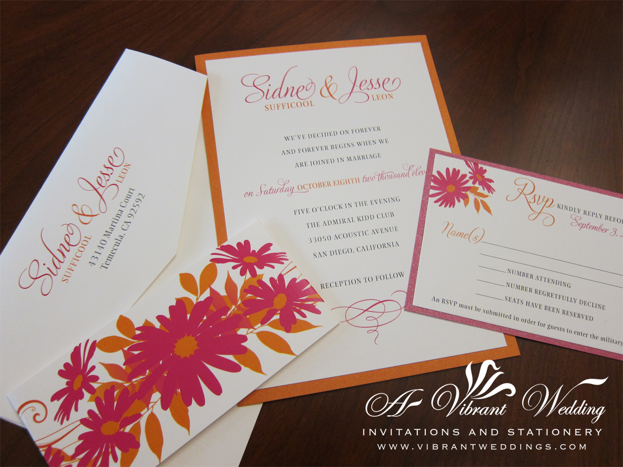 Pink and Orange Wedding Invitation with Daisy Flower Design – A ...