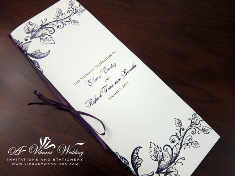 Ceremony Program - Purple & Gold Vintage Floral
