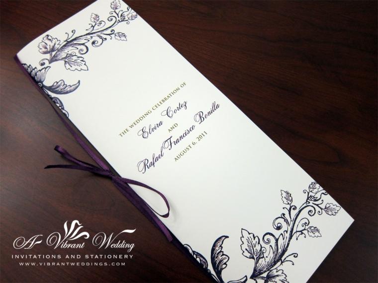 Ceremony Program - Purple & Gold Vintage Floral