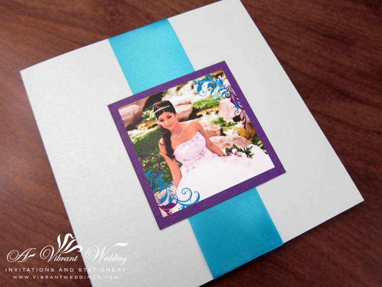 Quince Birthday Invitation - Pocket Fold Style with Satin Ribbon