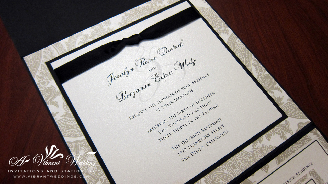 Black and White Traditional Wedding Invitation – 7×7″ Pocket Fold ...