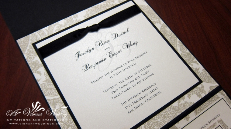Black and White Wedding Invitation with Ribbon