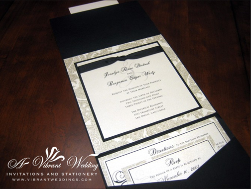Black and White Traditional Wedding Invitation -  Pocket Fold Style