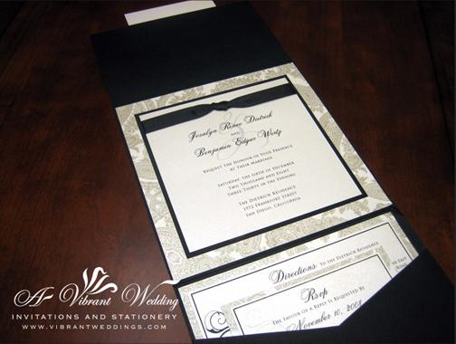 Black and White Traditional Wedding Invitation -  Pocket Fold Style