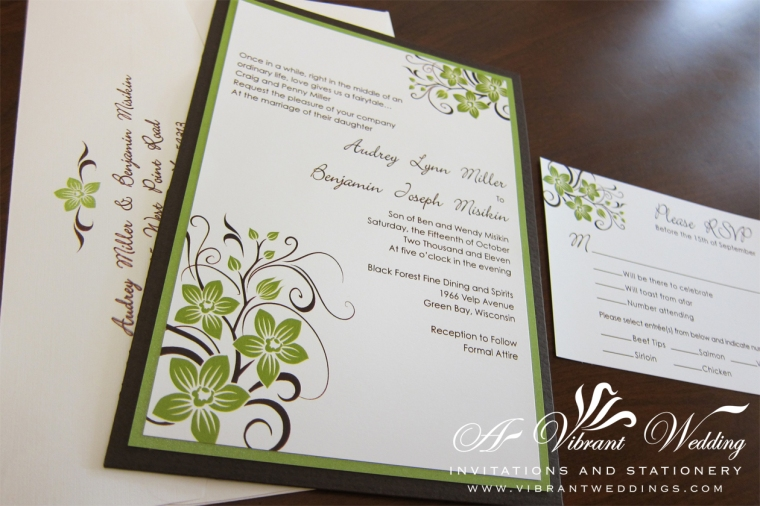 Green and Brown Wedding Invitation with Orchid Design