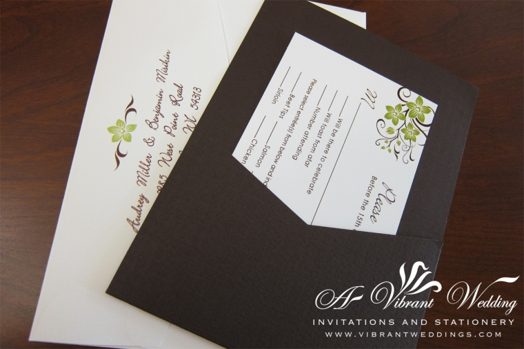 Green and Brown Wedding Invitation with Orchid Design - Pocket Card Style