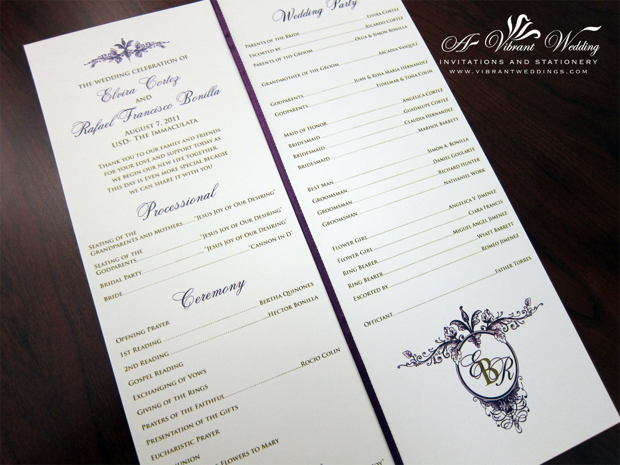 Ceremony Programs A Vibrant Wedding
