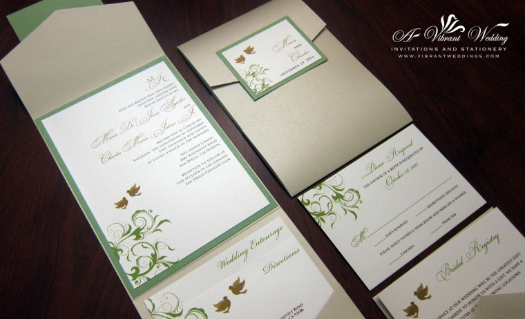 Green and Champagne Wedding Invitation with Doves and Monogram