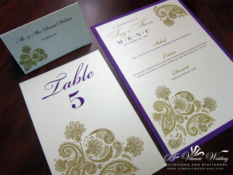 Purple and Gold Wedding Menu with Paisley design