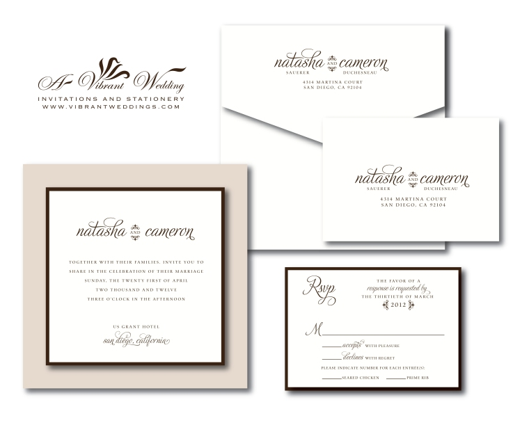 Modern Wedding Invitation - Champagne & Ivory 7x7""