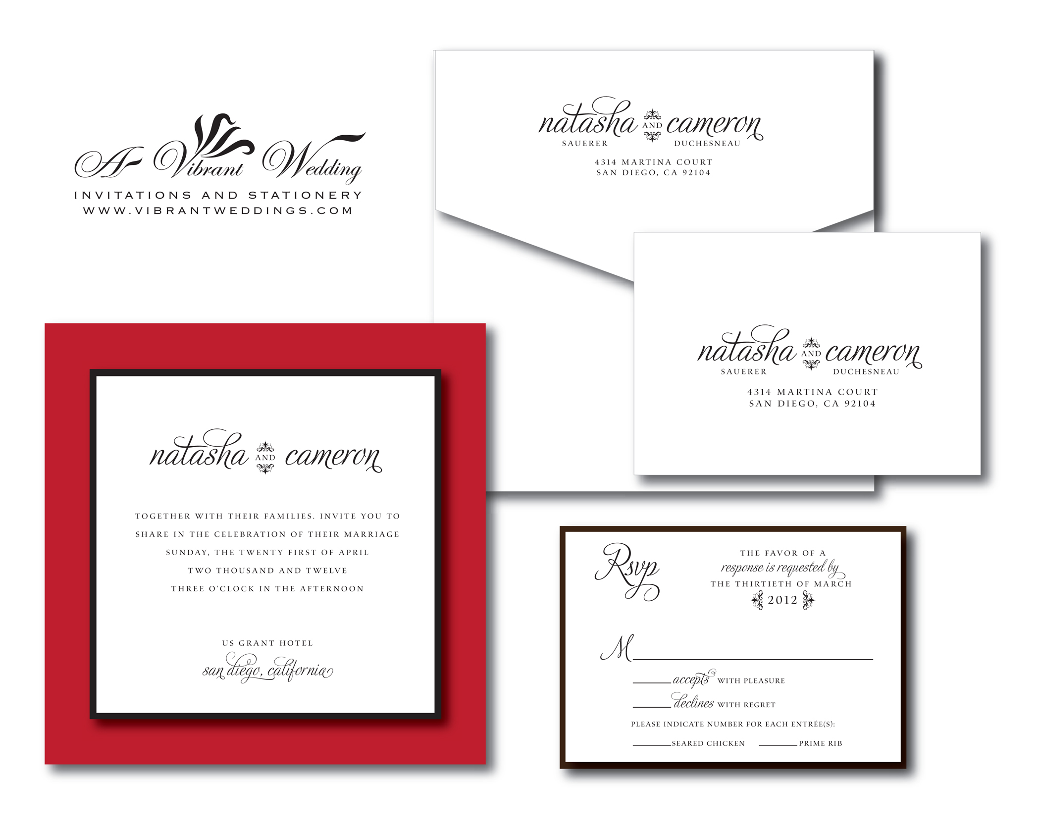 red and white wedding invitation – A Vibrant Wedding