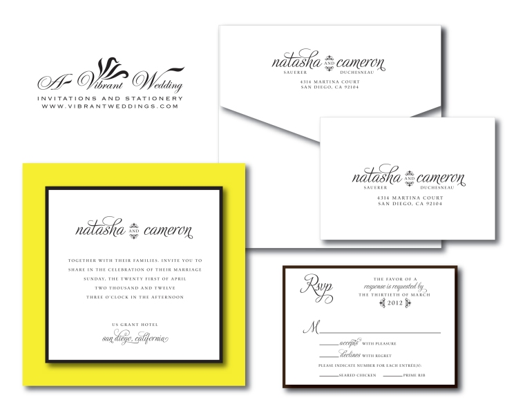 Yellow and Black Wedding Invitation Modern 7x7""