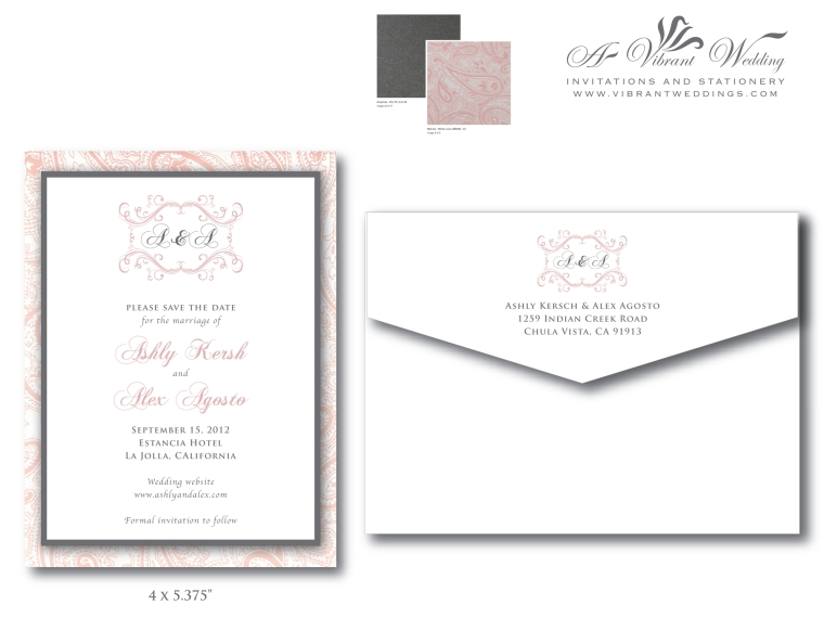 Pink and Grey Save the Date with Paisley Pattern