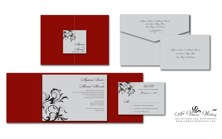 "Red and Silver Wedding Invitation - 5x7"" Gate-fold Style"