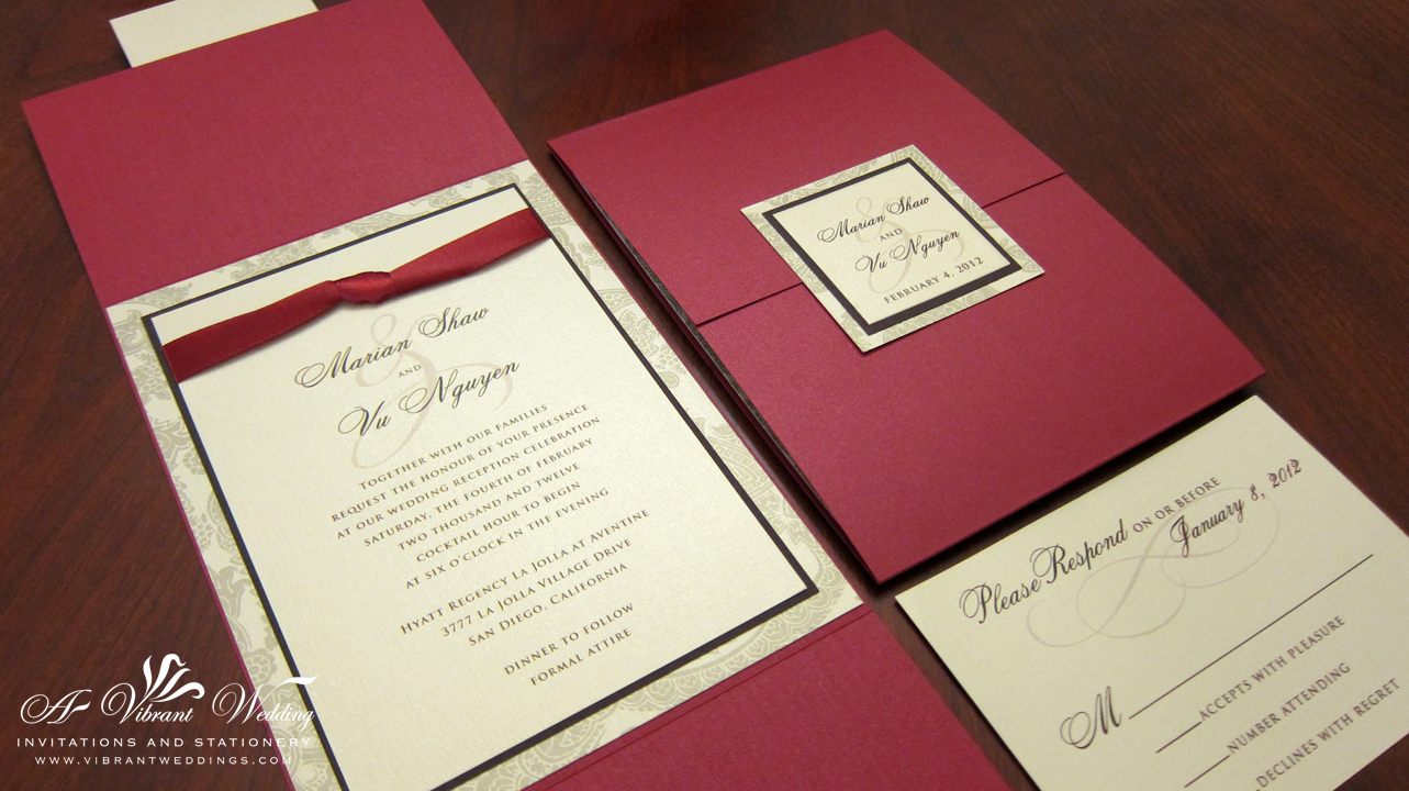 gate fold wedding invitation – A Vibrant Wedding