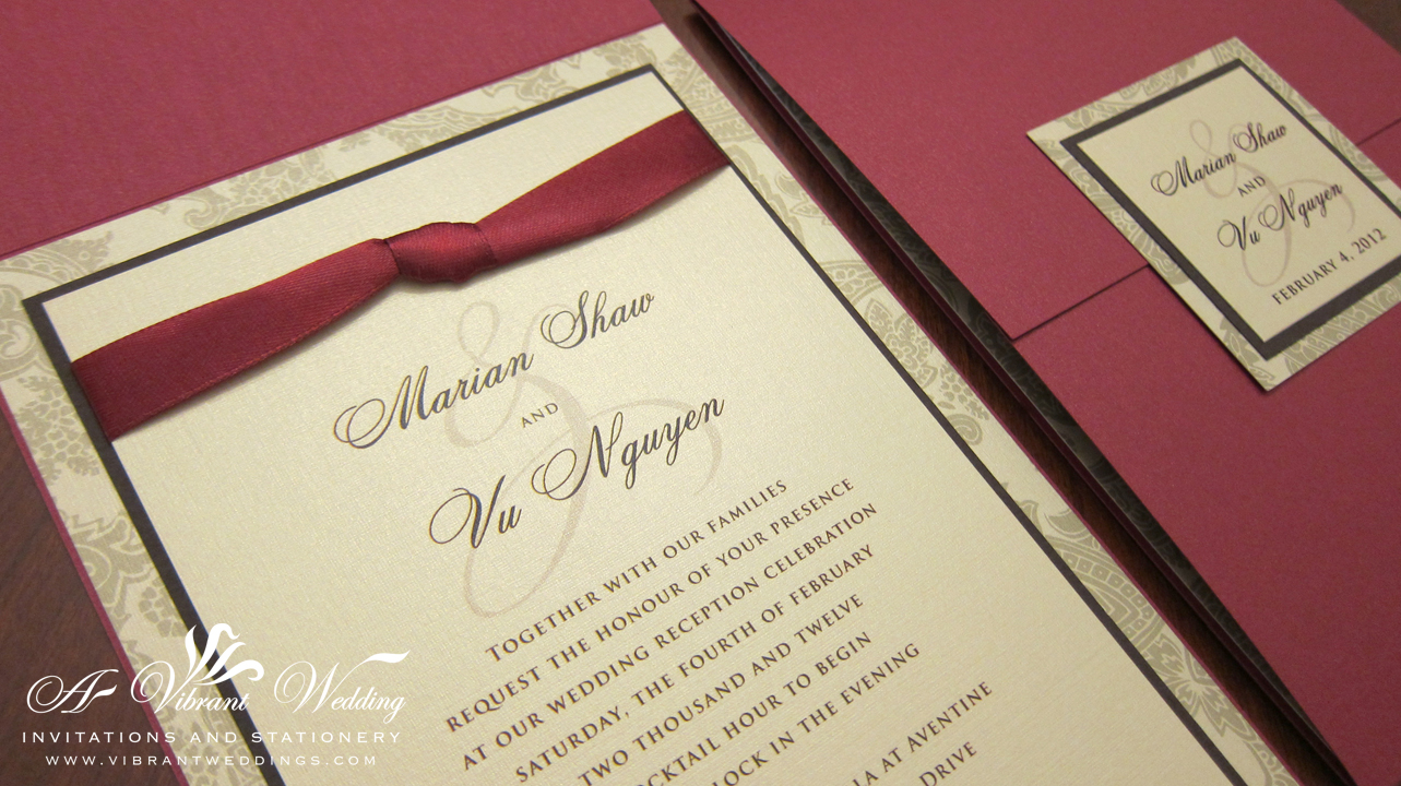 Red and Gold Wedding Invitation with Ribbon – Gate Fold Style – A ...