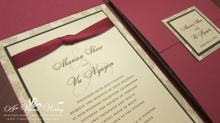 Red and Gold Wedding Invitation with Ribbon - Gate Fold Style