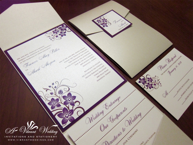 Champagne and Eggplant Purple Invitation with Orchid Design