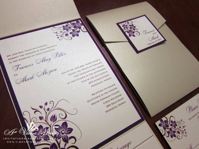 Champagne and Purple Wedding Invitation with Orchid Design
