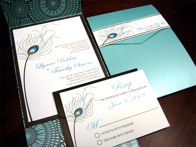 Peacock Feather Wedding Invitation - Z-Card Style