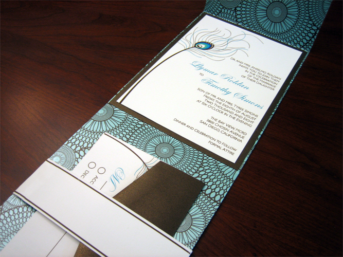 Peacock Feather Wedding Invitation Z-Card Style