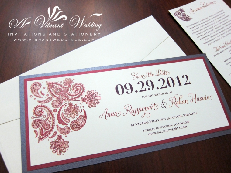 Purple and Red Save-the-Date with Henna Design