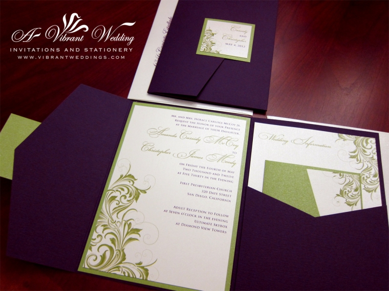 Eggplant Purple & Green Wedding Invitation with Victorian Scroll
