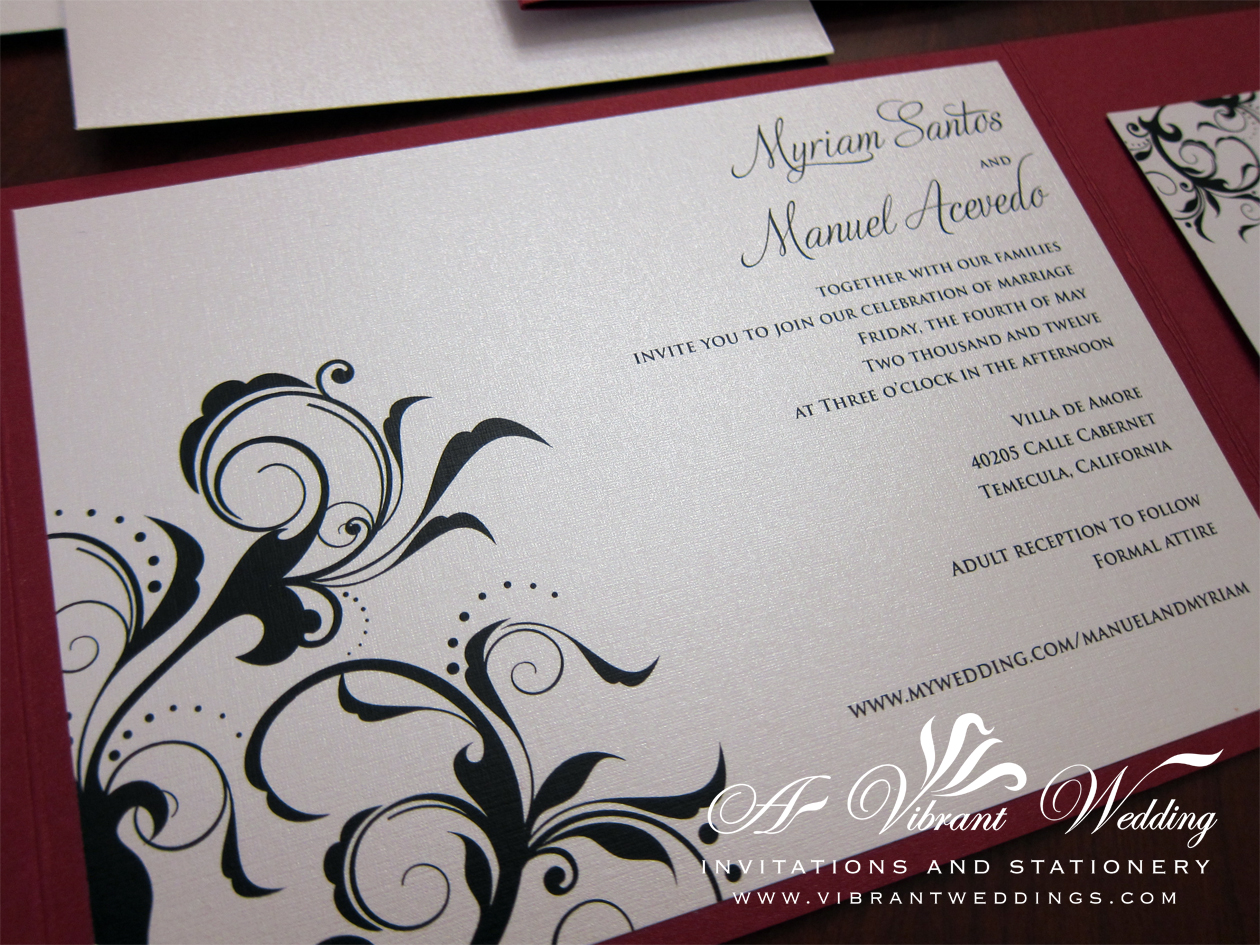 red and black wedding invitation A Vibrant Wedding