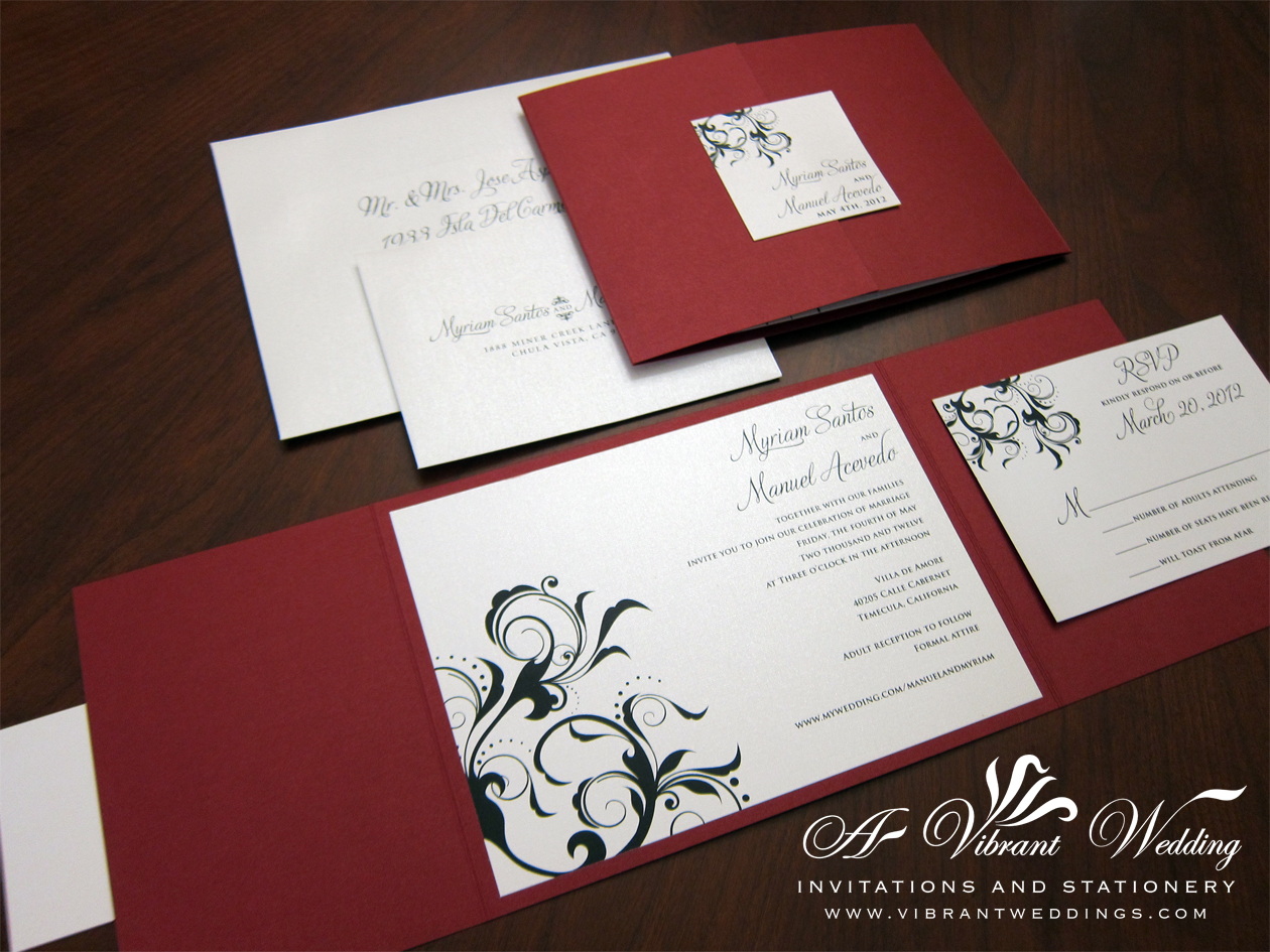 Red And Black Wedding Invitation